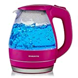 Ovente 1.5L BPA-Free Glass Electric Kettle, Fast Heating with Auto Shut-Off and Boil-Dry Protection, Cordless, LED Light Indicator, Fuchsia Pink(KG83P)