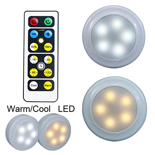 WRalwaysLX 2017 new design Wireless remote control LED Cabinet under closet light push on /off Stick-Anywhere Nightlight for Stairs Hallway,gun safe,Closet,Kitchen, Bedroom (cool/warm LED) (2 Pack)