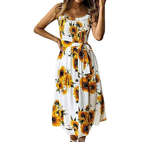 Chaofanjiancai Women's Dresses - Summer Boho Dress Floral Print Button Down A-Line Midi Dress with Belt and Pockets