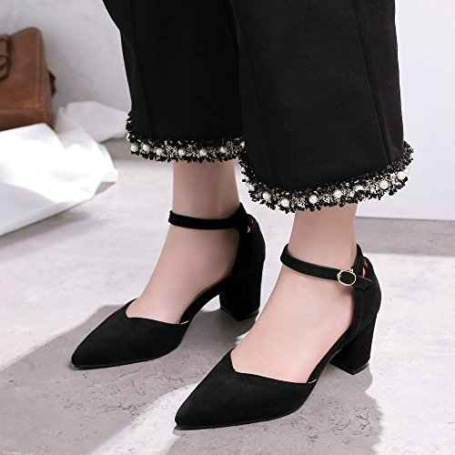 de tacón tobillo Correa 'Orsay corte anmengxinling bombas zapatos ante punta de de D Floral de alto oficina bloque Negro trabajo Mujer zapatos qBEcvF