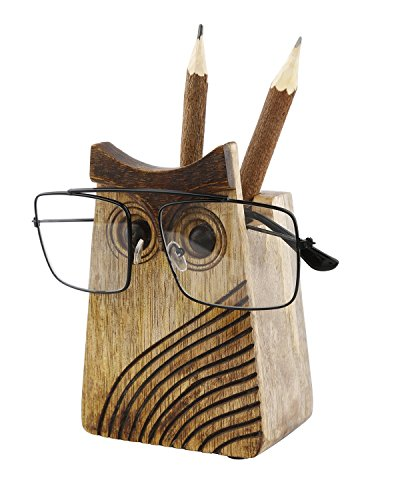 Wooden Spectacle Holder Eyeglass Holder Handmade Display Pen Stand with Owl Eyes Home Office Desk Decor Accessories