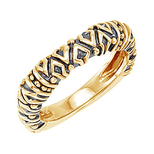Raised Tribal Pattern 4.5mm Stackable 14k Yellow Gold Ring, Size 7.25 by The Men's Jewelry Store (for HER)