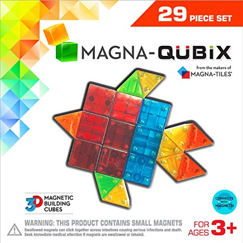 - Magna-Qubix 29-Piece Clear Colors Set – The Original, Award-Winning Magnetic 3D Building Shapes – Creativity and Educational – STEM Approved