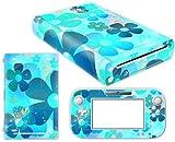 Vinyl Decal Skin Sticker Cover for WII U-blue Flowers for Women Girl