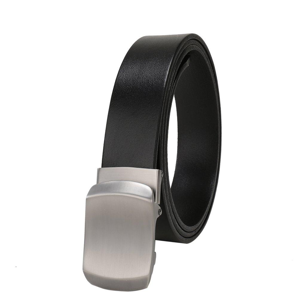 "Beltox Women & Men's Full Grain Leather 1.26"" Belts Classic Buckle in Gift Box(Black? up to 38'')"