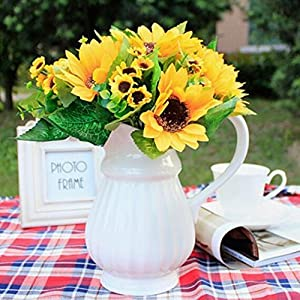 Shineweb 7 Scape Fake Sunflower Artificial Silk Flower Bouquet Home Wedding Floral Decor Pack of 3 4