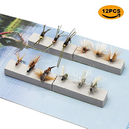 YZD Fly Fishing Trout Flies Kit 12pcs Fly Fishing Lure for Trout Premium Dry Wet Flies Streamer Nymph Mayfly Emerger Flys Trout Fly Fishing Gear Bait Assorted