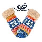 Damara Womens Snowflake Winter Faux-fur Roll Up Cuffs Halter Mitten,Dark Blue