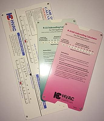 HVAC Chart 3 Pack, R-22 Superheat Subcooling Calculator, R-410a Superheat Subcooling Calculator and Duct Calculator