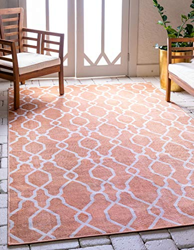 (Unique Loom Outdoor Oasis Collection Modern Lattice Transitional Indoor and Outdoor Flatweave Peach Area Rug (5' 0 x 8' 0) )