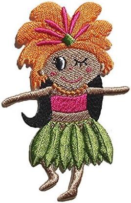アイロン アップリケ ワッペン 接着 モアナ ちゃん タヒチアン オレンジ 1枚 タヒチ ハワイ ハワイアン フラ かわいい おしゃれ 大人 女の子 日本製 Pua Pua Moanapple オリジナル
