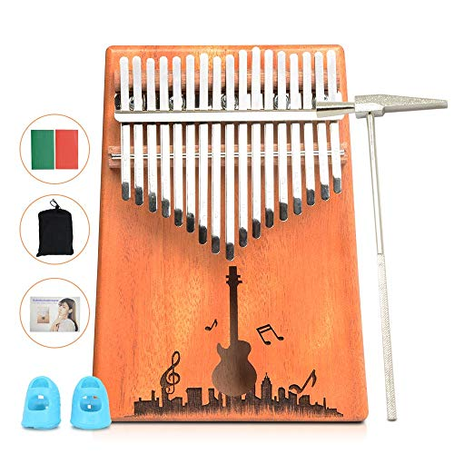 17 Key Kalimba Thumb Piano Solid Mahogany Wood Body Keyboard Instrument (Wood(guitar))