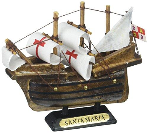 Hampton Nautical Wooden Santa Maria Tall Model Ship Christmas Ornament, 4