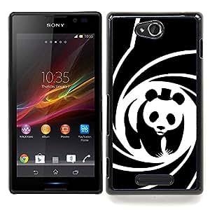 Jordan Colourful Shop - Panda Bear Movie Hat Spiral Poster Cute For Sony Xperia C S39h C2305 - < Personalizado negro cubierta de la caja de pl??stico > -