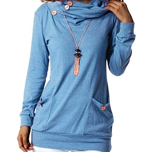 Casuale Autunno A Fit Lunga Shirt Libero Magliette Puro Manica Blau Eleganti Accogliente Tops Collo Alto Donna Tasche Battercake Colore Blusa Primaverile Fashion Con Donne Slim Camicetta Tempo WE9HID2