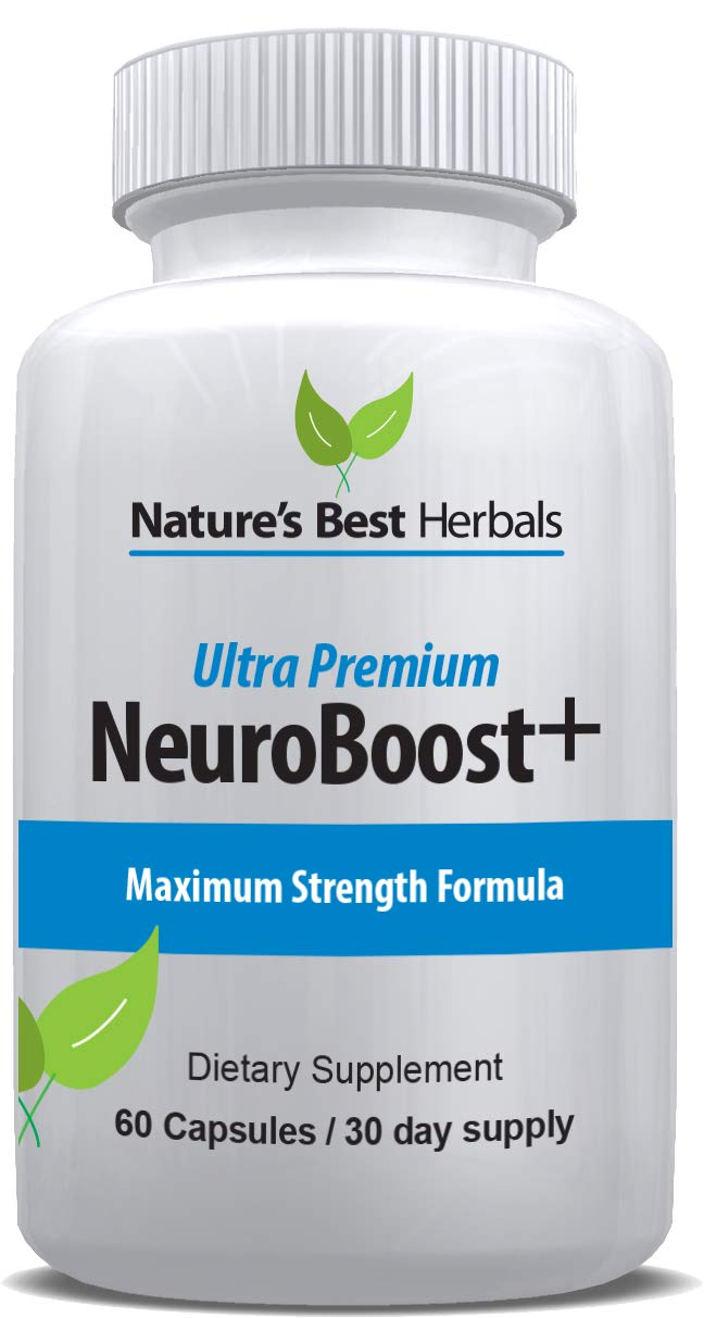 Ultra Premium NEUROBOOST+ Brain Function Plus Memory Support Supplement | Improve Focus, Clarity, Energy, Recall, Alertness and Cognitive Function | 60 Capsules/30-day Supply by Nature's Best Herbals