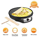 Electric Crepe Maker, iSiLER 1080W Electric Pancakes Maker Griddle, 12'' Electric Nonstick Crepe Pan with Batter Spreader & Wooden Spatula, Precise Temperature Control for Roti, Tortilla, Eggs, BBQ