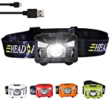 Three trees Sensor Flashlight Rechargeable Headlamp USB Cable Included, 4 ModesHelmet Light for Camping, Running, Hiking and Reading,Hands Adjustable