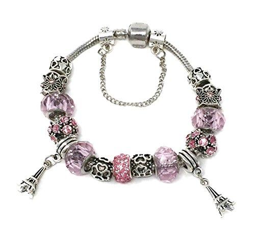 Akiko&Kaori Cute Pink European Charm Bangle Bracelet with Eiffel -