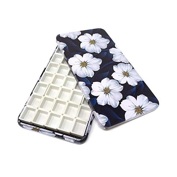 Honbay-Watercolor-Tins-Palette-Paint-Case-with-40pcs-Plastic-Half-Pans-White-Flower