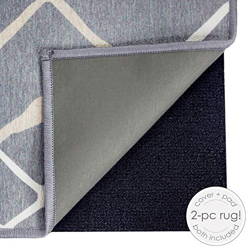 RUGGABLE Washable Stain Resistant Indoor/Outdoor, Kids, Pets, and Dog Friendly Area Rug 5'x7' Amara Grey by RUGGABLE (Image #2)