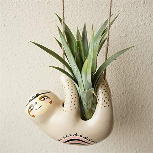 Cute Sloth Ceramic Hanging Succulent Planters -Pottery Bonsai Cactus Flower Pot, Air Plant Vase Holder for Indoor and Outdoor Decoration (1)