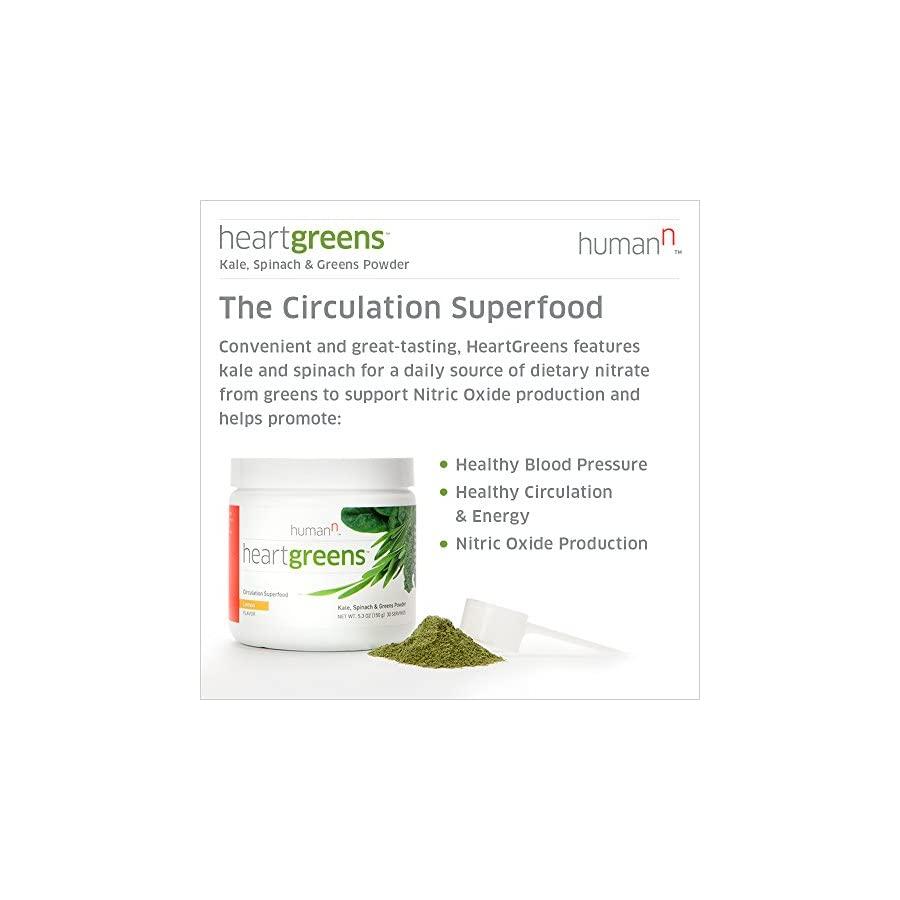 HumanN HeartGreens Circulation Superfood Kale, Spinach, and Greens Powder Nitric Oxide Boosting Supplement (Refreshing Lemon Flavor, 5.3 Ounce)