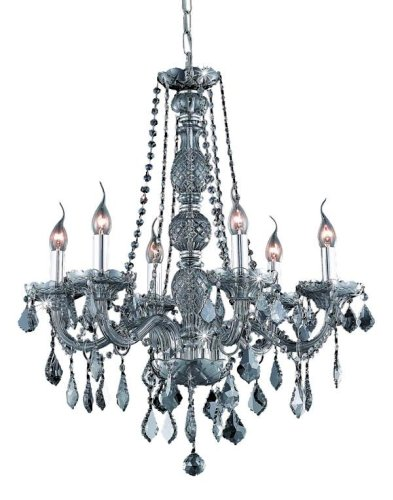 (Elegant Lighting 7856D24SS-SS/RC Verona 28-Inch High 6-Light Chandelier, Silver Shade Finish with Silver Shade (Grey) Royal Cut RC)