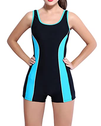 Missmao Womens Sports Boyleg Swimsuits One Piece Swimwear Shorts