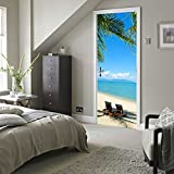 CaseFan Door Mural Wallpaper Stickers Beach View Self-adhesive Vinyl 3D Peel and Stick Removable Art Door Decals 30.3x78.7,Multicolor