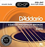D'Addario EXP15 with NY Steel Phosphor Bronze Acoustic Guitar Strings, Coated, Extra Light, 10-47