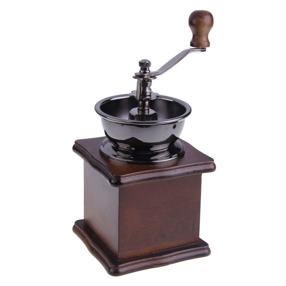 ttnight Mini Manual Coffee Grinder Mill Wood Stand Bowl Antique Hand Coffee Bean Grinder (Maroon) by TTnight (Image #3)