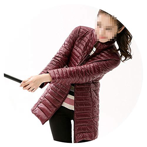 90% White Duck Down Jacket Women Winter Waterproof Warm Long Coat Large Size Slim Parkas,Claret,M