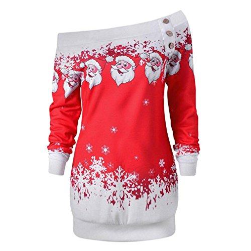 AmyDong Women's Blouse Women Christmas Snowflake Elderly Printing Shirt Ladies Oblique Collar Personality Loose Shirt (Red, XL)