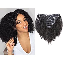 Anrosa Thick Human Hair Extensions Curly Natural Black Hair Color 1B Afro Kinky Curly Clip in Hair Extensions Real Virgin Remy Hair 14 Inch 120 Gram 3C 4A Type for African American Black Women