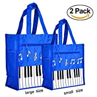 OPOCC Waterproof Oxford Piano Keys Music Handbag Shoulder Bag Tote Bag Shopping Bag (Blue One Small & One Big)
