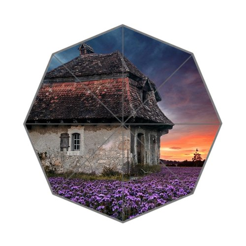Farm House Flowers Field Architecture Customized Art Printing Umbrella - New Arrivals Farmhouse