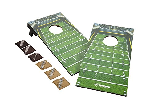 Mini Tailgate Toss Bean Bag - Triumph Mini Football Bag Toss All-Wood Tailgate Target Game Includes 6 Football-Style Bean Bags