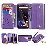 CORNMI Oneplus 6T Wallet Case, Zipper Pocket 8 Card Holders Wrist Strap Kickstand Detachable Purse Leather Folio Flip Protective Cover for Oneplus 6T Purple