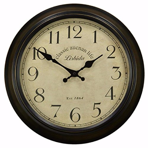 fwerq American Campaign Nordic Creative Wall Clock Simple, Modern Lounge, European Style and a Ironing Board, Alarm Clock Quiet,Retro Round of 14 - Board Quiet Ironing