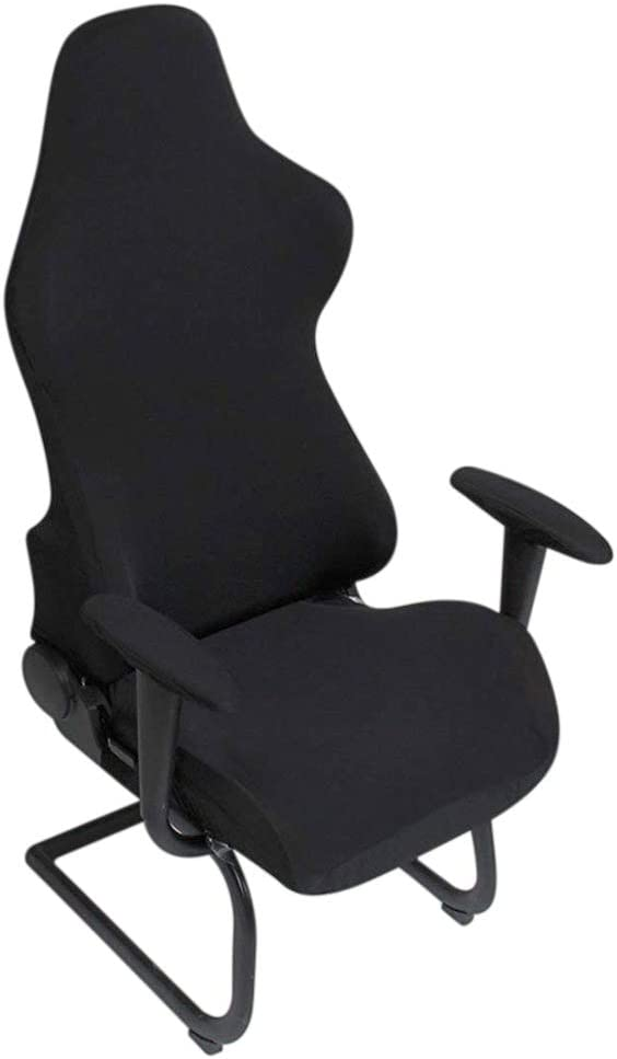BTSKY Ergonomic Office Computer Game Chair Slipcovers Stretchy Polyester Covers for Reclining Racing Gaming Gaming Chair Black (No Chair)