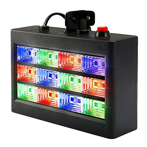 DJ Party Lights, SOLMORE 15W 12 LED Strobe RGB Stage Disco Lights Auto Sound Activated DJ Lights Adjustable Flash Speed Control for Party Wedding Show Birthday Parties AC -