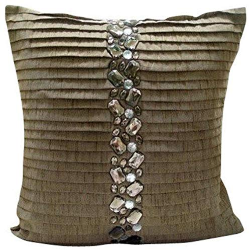Designer Champagne Brown Pillows Cover, Crystals Pinktucks Pillows Cover, 14