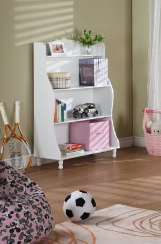 Kings Brand Furniture White Finished 3-tiered Tall Bookcase