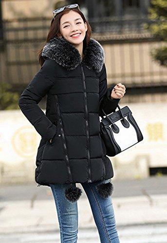 Cappuccio Lady Star Pom Tight 3xl Con Cappotto Korean Bigood Cerniera Nero 8qwdtCC