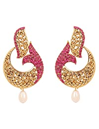 NEW! Touchstone Indian Bollywood curved fish Austrian crystals jewelry earrings in antique gold tone for women