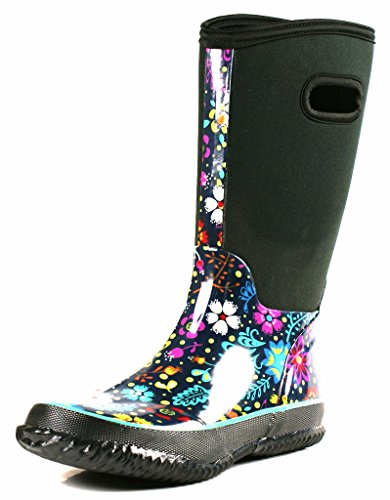 [OwnShoe Womens Mid Calf Winter Snow Neoprene Rain Boots, 6 D(M) US] (Neoprene Rubber Boots)