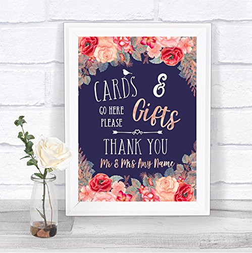 Navy Blue Blush Rose Gold Cards & Gifts Table Personalized Wedding Sign