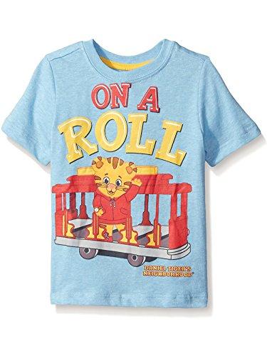 (Daniel Tiger's Neighborhood Little Boys' Toddler Short Sleeve Daniel T-Shirt, Light Blue Heather, 4T)