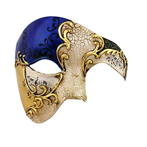 (Luxury Mask Half Face Mask Masquerade Phantom Of The Opera, Blue/Gold, One)